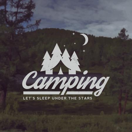 Illustration pour vector camping emblem. outdoor activity symbol with grunge texture on mountain landscape background - image libre de droit