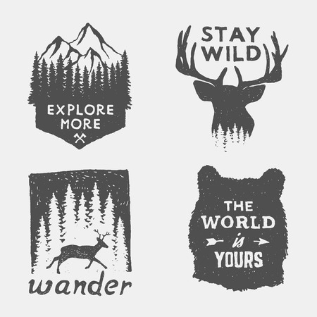 Illustration pour set of wilderness hand drawn typography posters, emblems and quotes. artworks for hipster wear. vector Inspirational illustration - image libre de droit