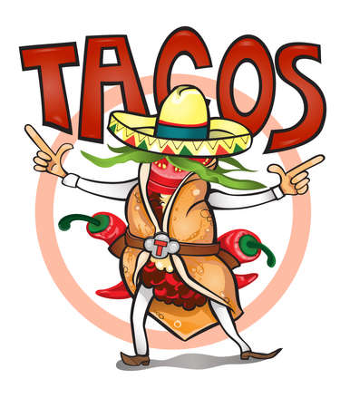Illustration for Came to eat time tasty tacos.vector illustration - Royalty Free Image