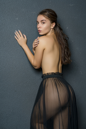 Photo for Beautiful girl posing nude in studio - Royalty Free Image
