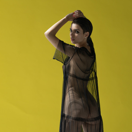 Foto de young woman posing in the transparent dress - Imagen libre de derechos