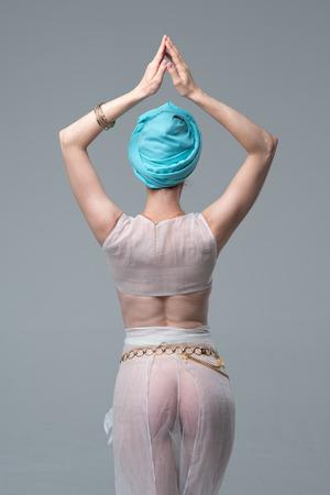 Photo for white lingerie girl doing yoga - Royalty Free Image