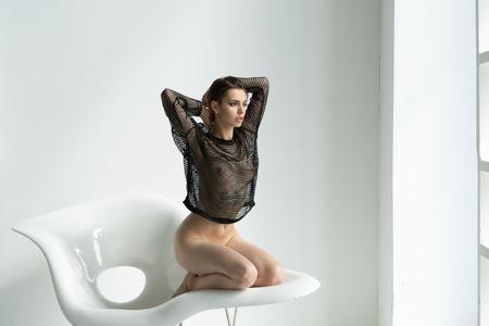 Foto de white beautiful girl in black lingerie - Imagen libre de derechos
