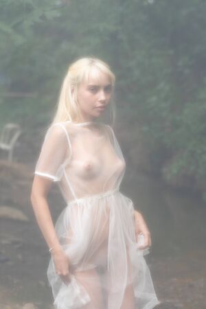 Photo for young beautiful girl pose nude outside, stands in a white transparent dress - Royalty Free Image