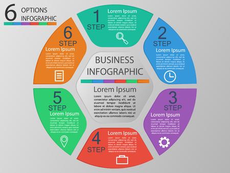 Ilustración de Vector illustration infographics 6 options. Template for brochure, business, web design eps 10. - Imagen libre de derechos