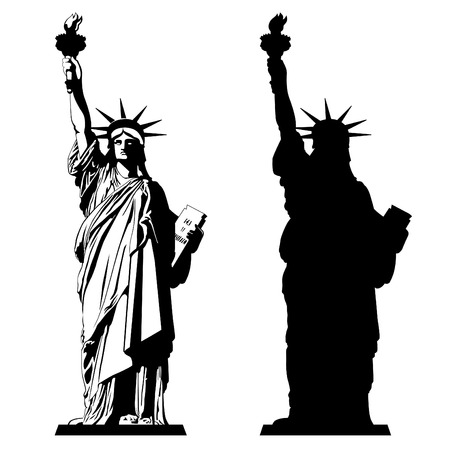 Illustration pour The Statue of Liberty. Vector illustration - image libre de droit
