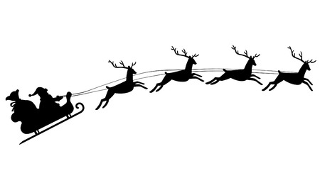 Illustration pour Silhouette of Santa Claus riding in a sleigh with reindeer - image libre de droit