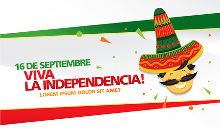Illustration for Mexican translation of the inscription: 16 th of September. Happy Independence day! Viva Mexico! - Royalty Free Image