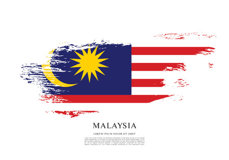 Illustration pour Flag of Malaysia, brush stroke background - image libre de droit
