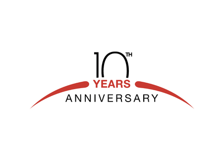 Illustration for 10th anniversary emblem. Ten years anniversary celebration symbol - Royalty Free Image