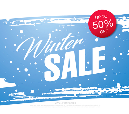 Illustration pour Winter sale banner template design, vector illustration - image libre de droit
