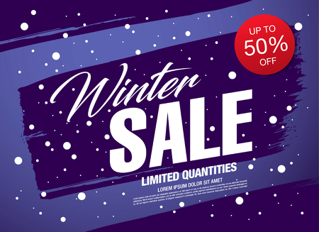 Illustration pour Winter sale banner template design vector illustration - image libre de droit