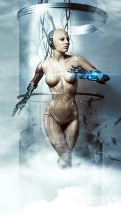 Photo pour beautiful woman robot smashes glass flask, cyborg, laser - image libre de droit
