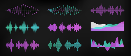 Ilustración de Sound waves set isolated on dark background. Digital equalizer technology, audio player, musical pulse. Sound rhythm. Simple modern design. Flat style vector illustration. - Imagen libre de derechos