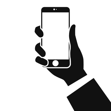 Ilustración de Smartphone in hands isolated on white background. Man's hand holding a phone in hand. Realistic template. Simple design cartoon icon and logo. Flat style vector illustration. - Imagen libre de derechos