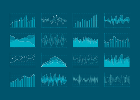 Ilustración de Set of HUD and info-graphic elements. Data analysis and analytics visualization. Futuristic user interface. Vector illustration isolated on dark background. - Imagen libre de derechos