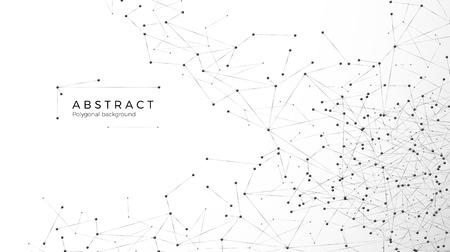 Ilustración de Abstract particle background. Mess network. Nodes connected in web. Futuristic plexus array big data. Atomic and molecular pattern. Vector illustration isolated on white background - Imagen libre de derechos