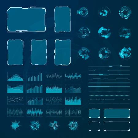 Ilustración de HUD elements set. Graphic abstract futuristic hud pannels. Vector - Imagen libre de derechos
