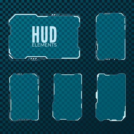 Illustration pour Abstract hi tech sci fi futuristic template design layout. HUD element set. Vector illustration isolated on transparent background - image libre de droit