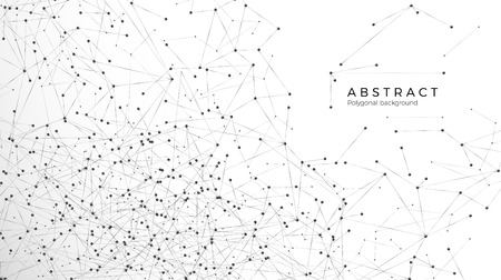 Illustration pour Abstract particle background. Mess network. Atomic and molecular pattern. Nodes connected in web. Futuristic plexus array big data. Vector illustration isolated on white background - image libre de droit