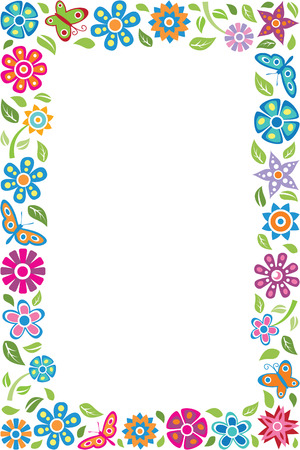 Illustration for Floral frame with butterflies - Royalty Free Image
