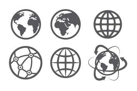 Illustration pour Globe earth icons set on white background - image libre de droit
