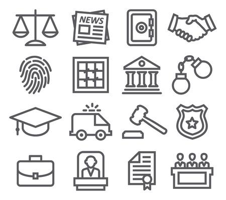 Illustration pour Law line icons - image libre de droit