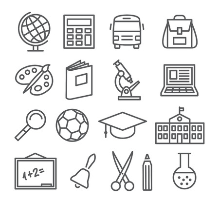Foto de Gray School and Education Line Icons on white background - Imagen libre de derechos