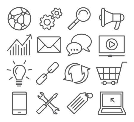 Ilustración de Gray SEO Line Icons on white background - Imagen libre de derechos