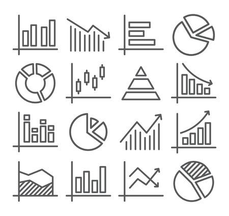 Ilustración de Gray Diagram and Graphs Line Icons on white - Imagen libre de derechos