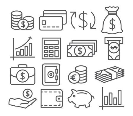 Illustration pour Gray Money Line Icons on white background - image libre de droit