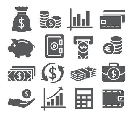 Illustration pour Gray Money Icons Set on white background - image libre de droit