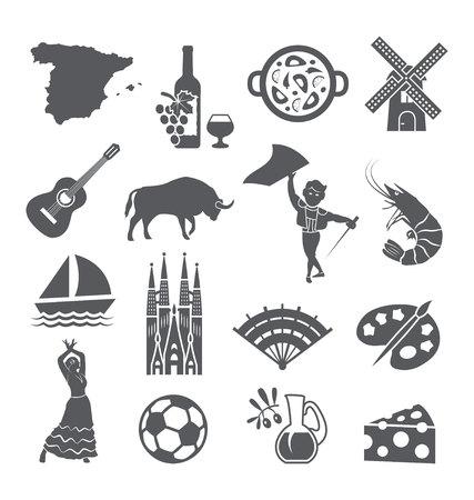Ilustración de Spain icons set. Spanish traditional - Imagen libre de derechos