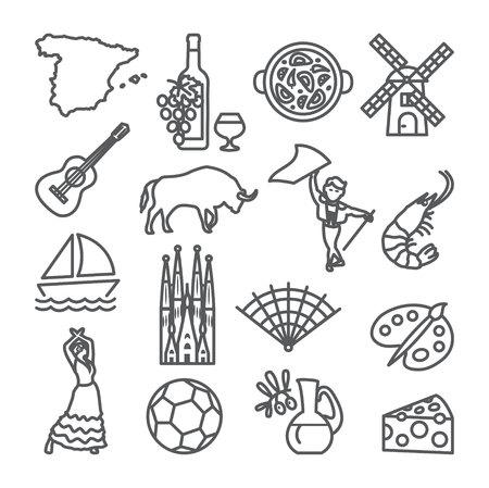 Ilustración de Spain line icons set. Spanish - Imagen libre de derechos