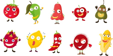 Illustration of  a cartoon fruits and vegetables