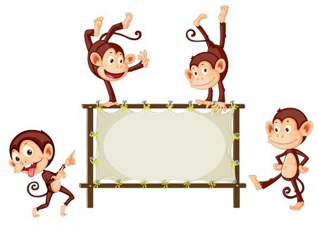Illustration of monkeys and blank sign