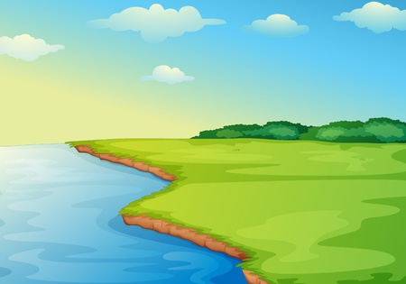 Illustration of open grass field on waters edge