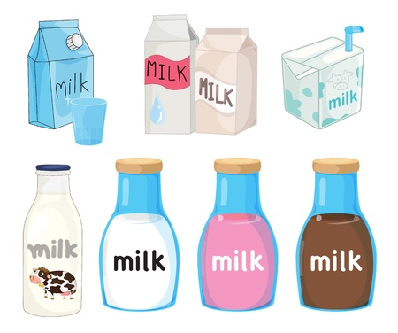 Collection of assorted milks on white