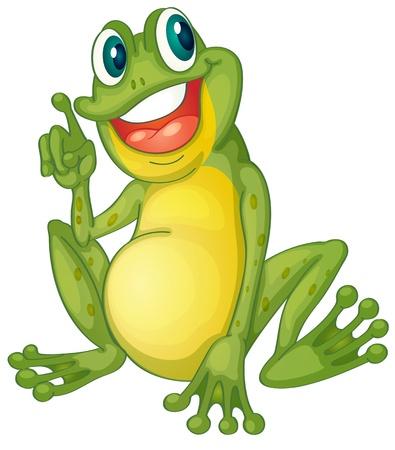 Photo pour Illustration of a frog cartoon character - image libre de droit