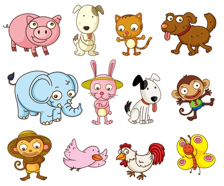 Photo pour Illustration of cartoon animals on white - image libre de droit