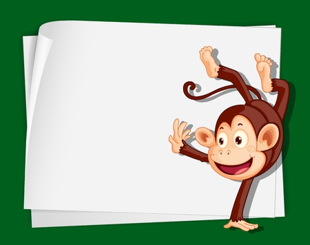 Illustration of crazy monkey on paper