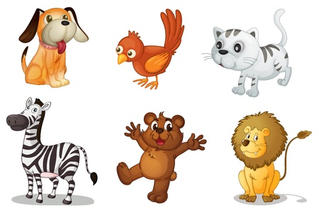 Illustration for Illustration of a set of cute animals - Royalty Free Image