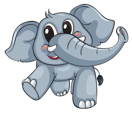Cute elephant on a white background