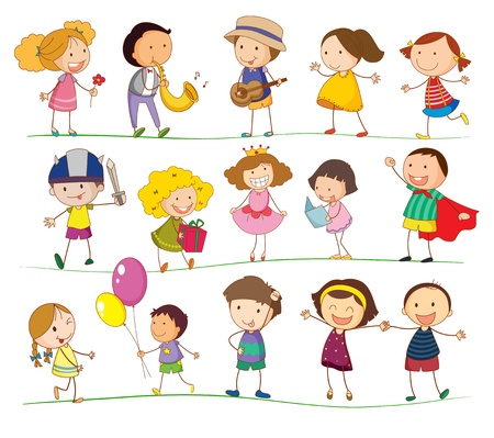 Illustration of mixed simple kids