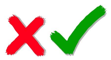 Illustration pour illustration of tick and cross symbols - image libre de droit