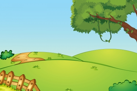 Illustration pour Illustration of a field and a fence - image libre de droit