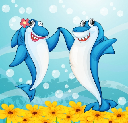 Illustration for illustration of two dancing whale fishes in water - Royalty Free Image