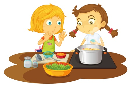 illustration of a girls cooking food on a white background