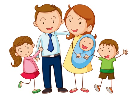 Foto de illustration of a family on a white background - Imagen libre de derechos