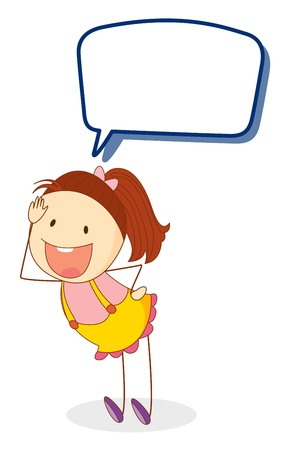 Illustration pour illustration of a girl and call out on a white background - image libre de droit